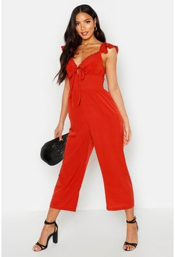 Womens Terracotta Shirred Waist Ruffle Sleeve Culotte Jumpsuit