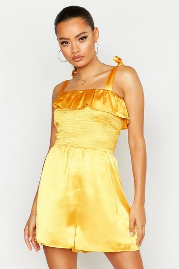 Mustard Shirred Tie Shoulder Playsuit