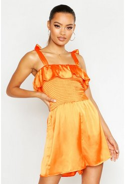 Orange Shirred Tie Shoulder Playsuit