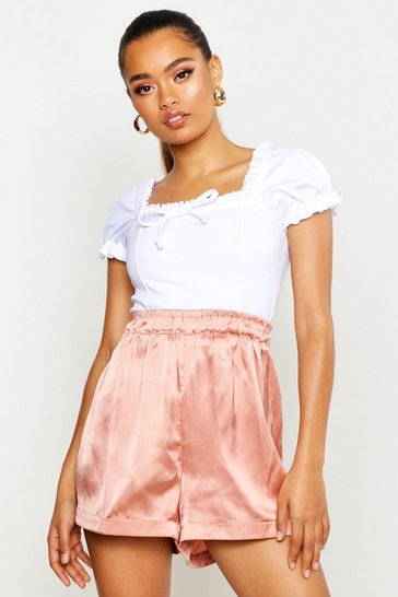 Womens Apricot Satin Turn Up Shorts