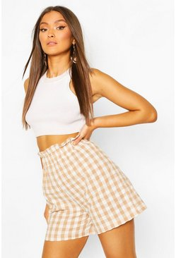 Womens Ecru Gingham Check Seersucker Shorts