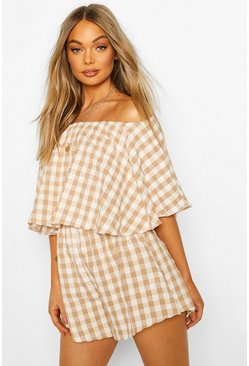 Ecru Off The Shoulder Seersucker Playsuit