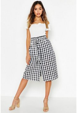 Womens Black Gingham Check Button Through Seersucker Midi Skirt