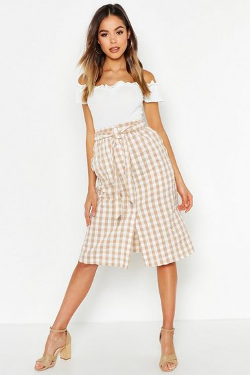 Womens Ecru Gingham Check Button Through Seersucker Midi Skirt
