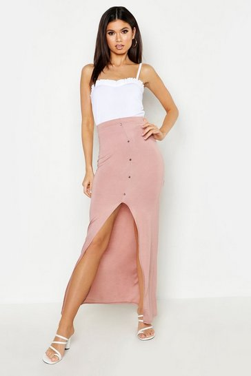 Womens Nude Button Front Ankle Length Jersey Maxi Skirt