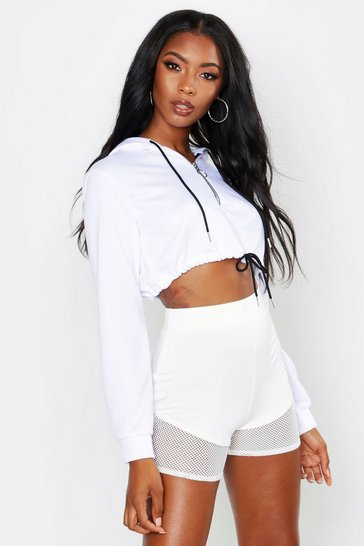 Womens White Neon Zip Hooded Crop Sweat