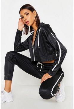 Womens Black Tricot Hooded Crop Zip Through Side Stripe Tracksuit