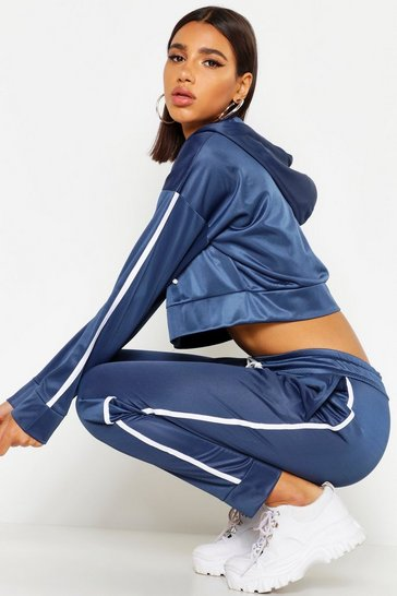 Slate Tricot Hooded Crop Zip Through Side Stripe Tracksuit