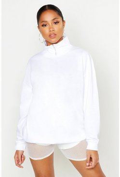 Womens White Zip Funnel Neck Crop Sweat