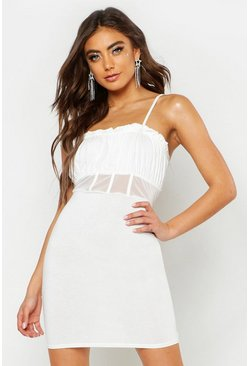 Womens White Corset Mesh Insert Bodycon Dress