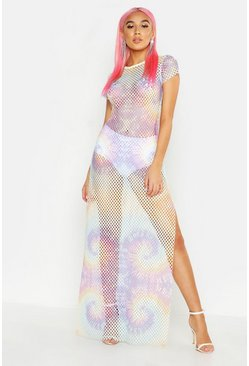 Womens Pink Pastel Tie Dye Mesh Maxi Dress