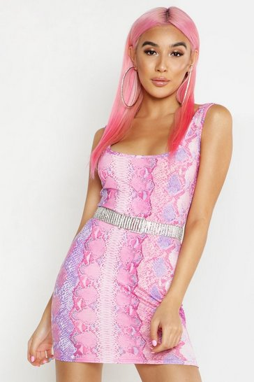 Womens Pink Snake Print Bodycon Mini Dress