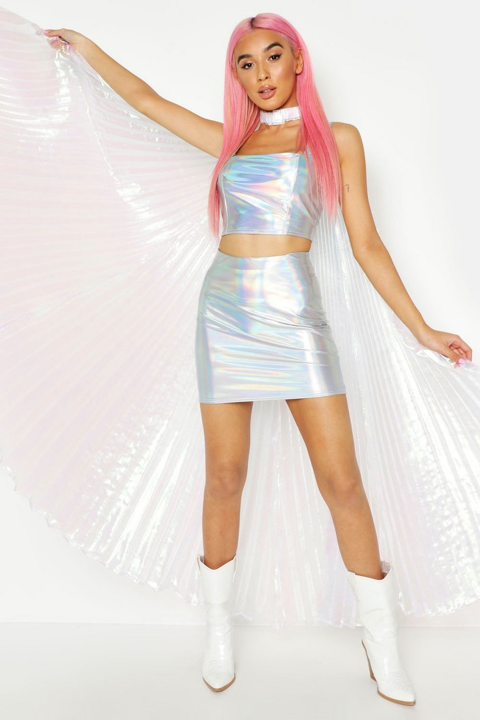 a22b085ceff39 Holographic Square Neck Crop Top   Skirt Co-Ord