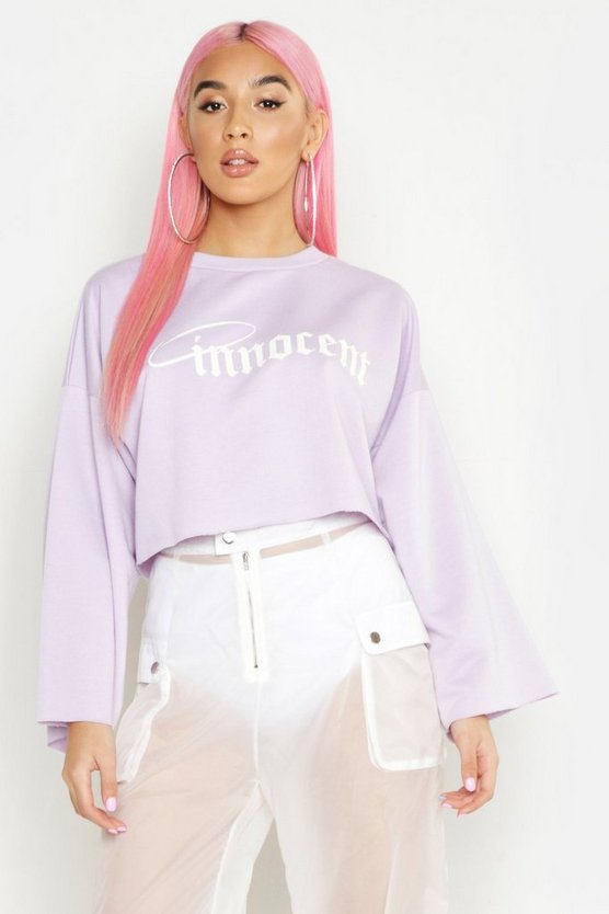 Womens Lilac Innocent Raw Edge Cropped Sweat