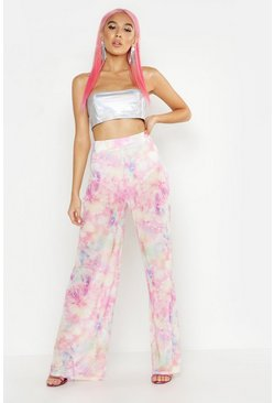 Womens Pink Cosmo Tie Dye Wide Leg Trousers