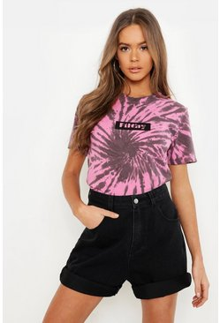 Womens Pink Filthy Swirl Tie Dye Graphic Tee