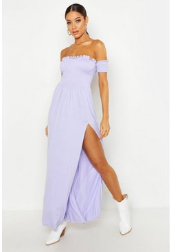 Lilac Dress With Shirred Body & Sleeves