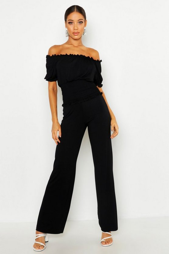 Black Pants With Shirred Waist