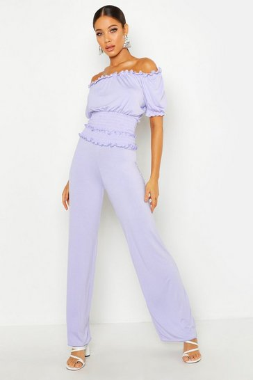 Womens Lilac Trousers With Shirred Waist