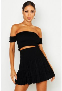 Black Shirred Bardot Crop
