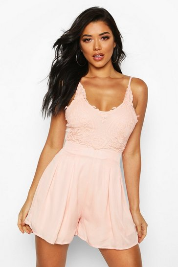 Nude Boutique Crochet Detail Flippy Playsuit