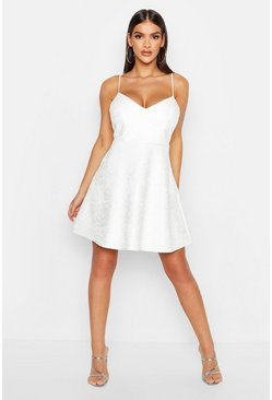 Ivory Bonded Lace Scuba Skater Dress