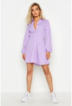 Womens Lilac Woven Button Through Polka Dot Shirt Dress