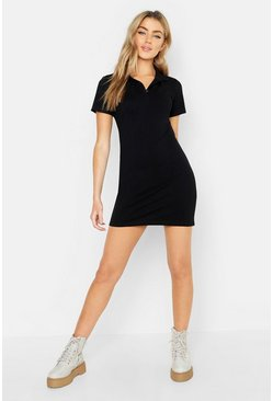 Black Short Sleeve Tennis Dress