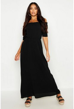 Womens Black Woven Ruffle Bardot Maxi Dress