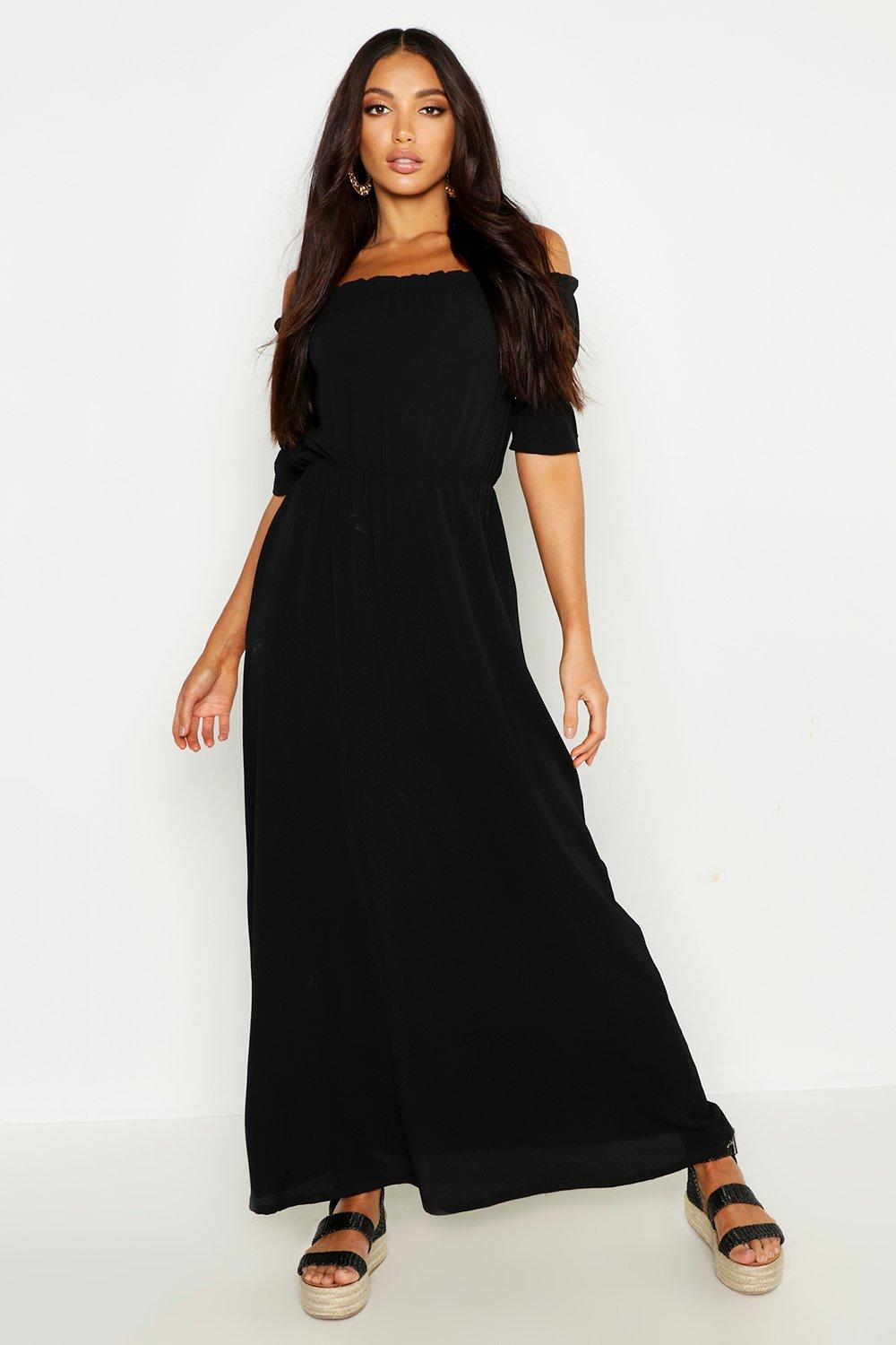 bed3d224d WOMENS Woven Ruffle Bardot Maxi Dress