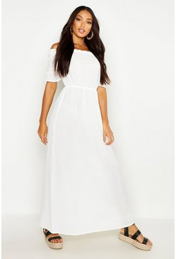 Womens White Woven Ruffle Bardot Maxi Dress