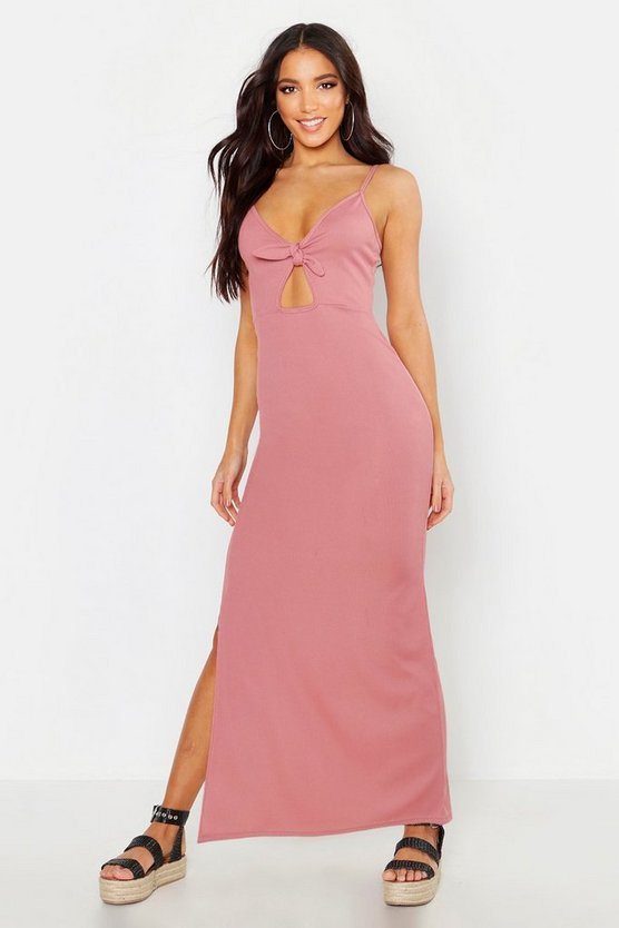 Womens Blush Rib Bow Detail Maxi Dress