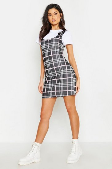 Womens Pink Buckle Detail Check Pinafore Dress