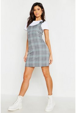 Womens Turquoise Buckle Detail Check Pinafore Dress