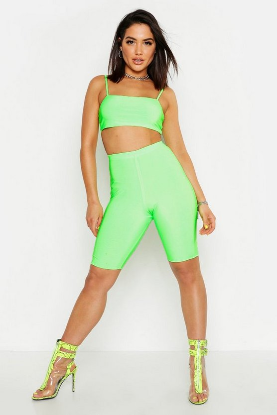 Womens Neon-green Slinky Cycling Shorts