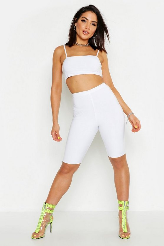 Womens White Slinky Cycling Shorts