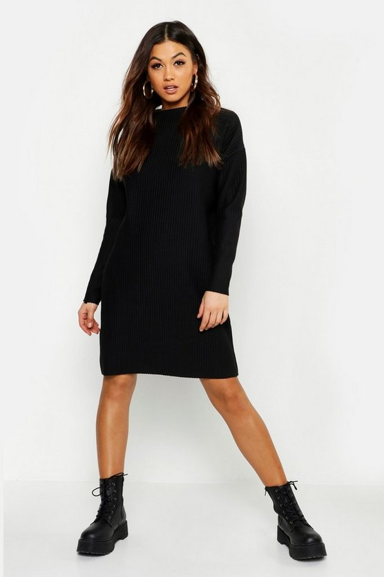 Womens Black Ribbed Funnel Neck Sweat Dress