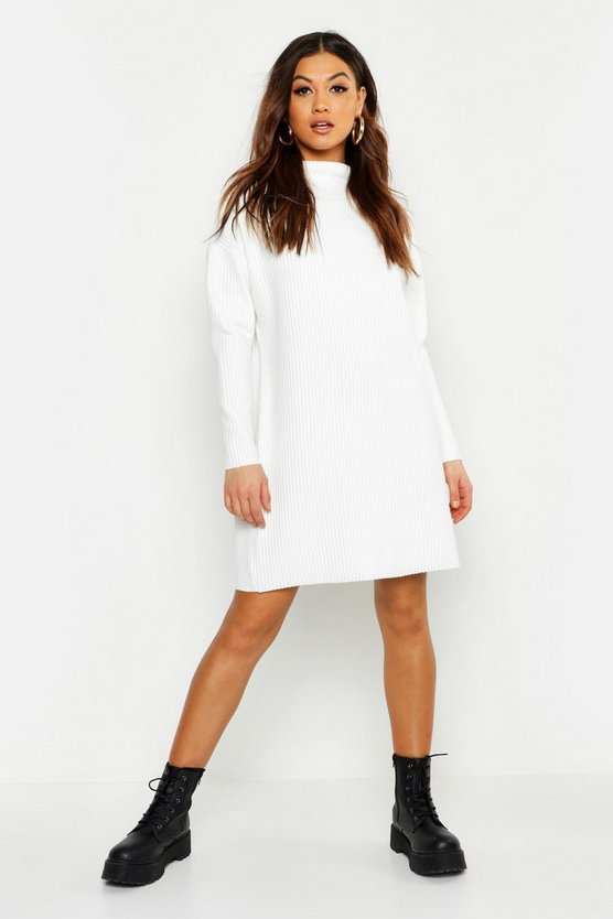 Womens Ecru Ribbed Funnel Neck Sweat Dress