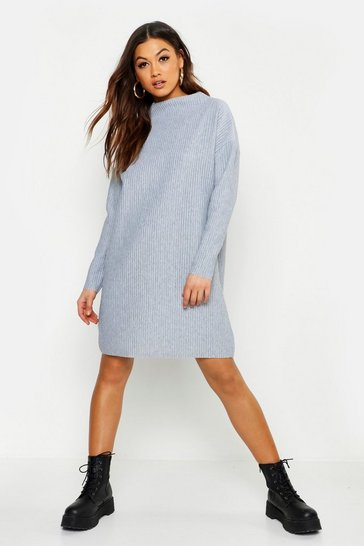 Womens Grey Ribbed Funnel Neck Sweat Dress