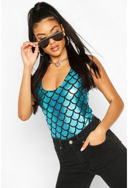 Blue Holographic Mermaid Print Bodysuit