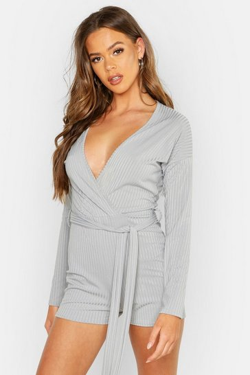 Womens Grey Ribbed Tie Waist Playsuit