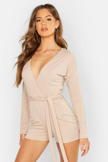 Sand Ribbed Tie Waist Playsuit