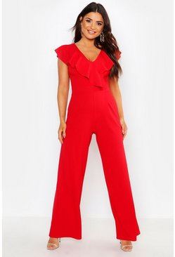 Womens Red Ruffle Wrap Jumpsuit