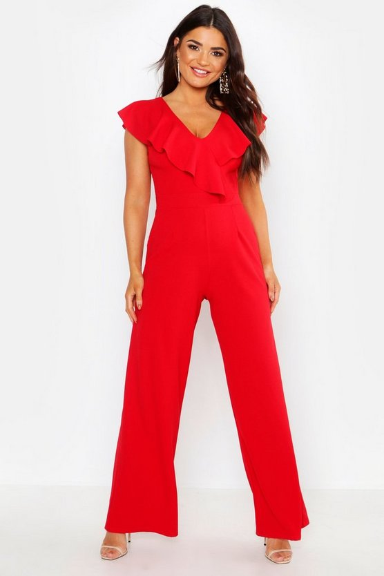 Jumpsuit im Wickeldesign mit Volant, Rot, Damen