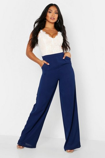 Womens Navy Lace Body Insert Jumpsuit