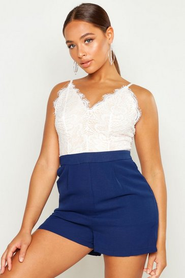 Womens Navy Lace Body Insert Playsuit