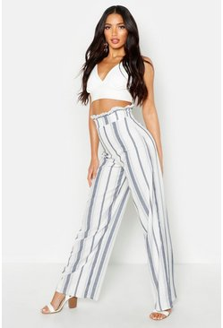 Womens Ivory Linen Stripe Wide Leg Trousers