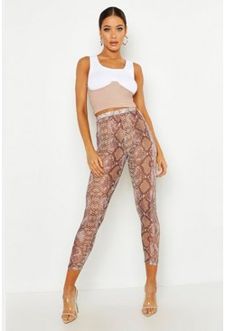 Womens Brown Snake Print Mesh Leggings
