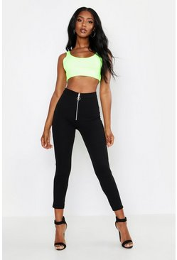 Womens Black Zip Front Legging