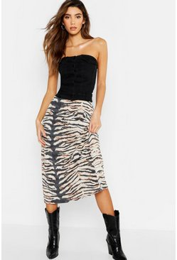 Womens Brown Tiger Print Slinky Bias Cut Midi Skirt